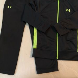 Under Armour Matching Sets - Boys gray and neon pants and jacket set